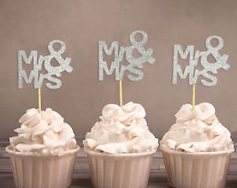 Mr and Mrs cupcake topper set of 12