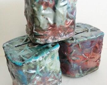 Raku art pottery nautical starfish Coin Bank: ceramic HM beach dreams decor  Vibrant copper red turquoise glaze color variations square