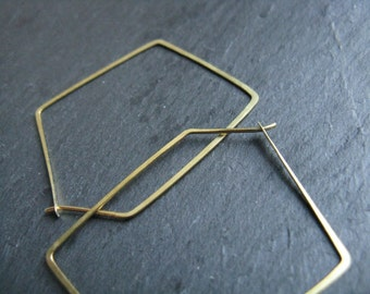 Harmony, statement hoop earrings, large polygon / pentagon geometric earrings,  modern hoop earrings, delicate thin hoops, contemporary