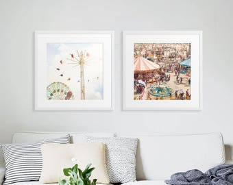 Nostalgic Boardwalk Carnival // Set of Two Prints // Carnival Photography // Theme Park Prints // Kids Room Decor // Kids Room Art // Prints