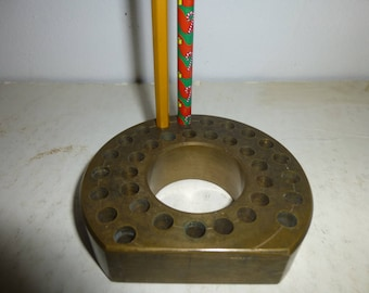 Pencil Holder - Modern Industrial Copper Form holds  34 Pencils in 2 rings - Great for colored pencil displays