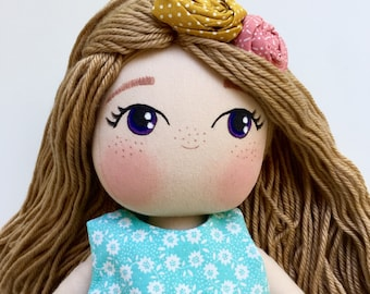 Personalized Cloth Doll - Cutest Fabric Doll - Author's Pattern - Rag Doll - Girl Gift Idea - Brunette Doll