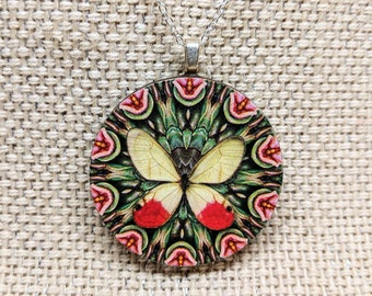 Butterfly Pendant Necklace / Round Pendant Necklace / Butterfly Jewelry / Insect Jewelry