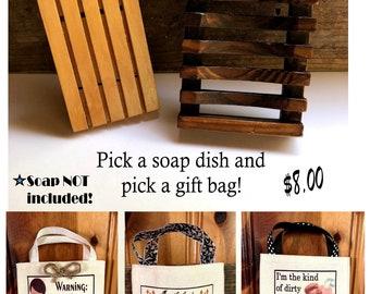 Handmade Soap Dish and Gift Bag
