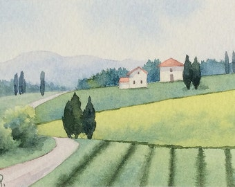 Original watercolor ACEO painting - La strada