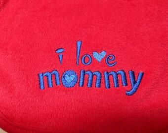 Baby Bib I Love Mommy Red Bib Embroidered Baby Boy Baby Girl Bib Baby Shower Gift Idea