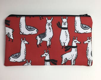 Pencil Case Zip Pouch - Llamas