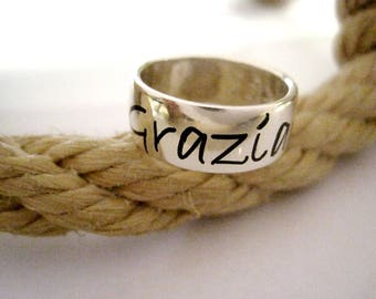 Silver Band ring 925 with engraved name