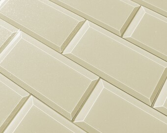Creme Peel and Stick Mosaic Tiles- Glass Tile Back Splash- Glass Mosaic Wall Tiles- Glass Home Decor