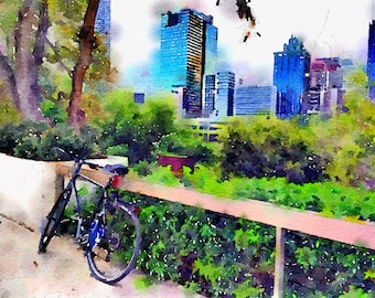 Watercolor Print -  Brisbane from the Art Gallery - Cityscape