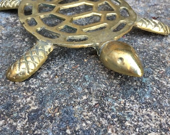 Solid brass turtle trivet or plant stand