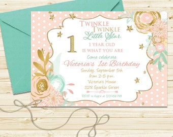 Polka Dot Pink, Mint and Gold Glitter Birthday Party Invitation - Twinkle Twinkle Little Star First Birthday Invite