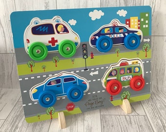 Personalised wooden Cars puzzle - engraved - wooden toy - push along cars - 3D puzzle - wedding gift - page boy