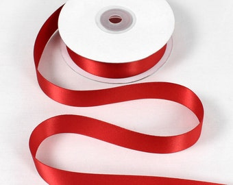 """Double Faced Red Satin Ribbon - 7/8"""" Wide - 100% Polyester"""