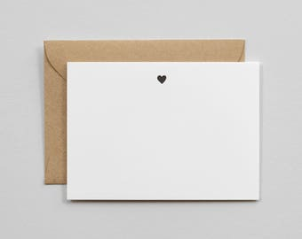 Letterpress Printed Simple Heart Notecards, Set of 10 Flat Cards