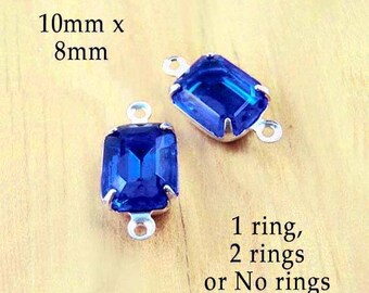 Sapphire Blue Glass Beads -  10x8 Octagons - Rhinestone Earrings or Tiny Pendants - Glass Connectors - Royal Blue - 10mm x 8mm - One Pair