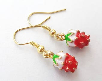 Strawberry Earrings in Gold, Little Red and White Strawberries, Gold Earrings, Choose Gold Plated, Surgical Steel or Gold Filled Wires