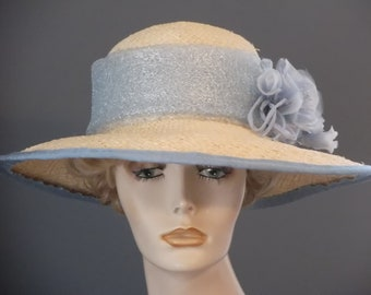 Kentucky Derby straw and light blue hat, blue and silver fabric band, wide brim hat, blue silk flower and buds, hand blocked, womens hat,