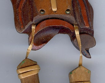 BAKELITE ERA VINTAGE carved wood figural western saddle & dangly boots pin