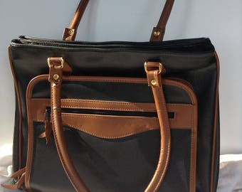 1980's Vintage Black with Brown Trim Vegan Leather Tote / Briefcase / Shopper / Travel