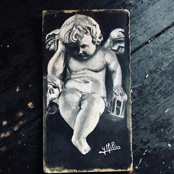 Antique Angel Painting, signed.