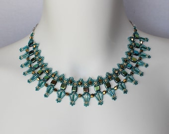 Lovely bead woven glass necklace in shades of green, aqua and bronze, handcrafted, unique, elegant, holiday