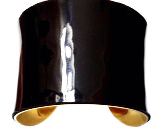 Black Latex Finish Patent Leather Gold Lined Metal Cuff Bracelet - by UNEARTHED