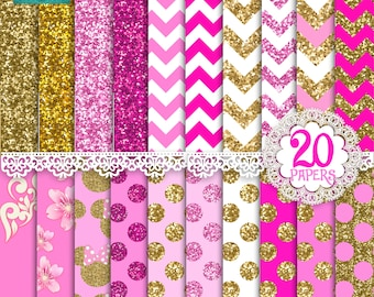 Minnie glitter gold and pink digital paper, gold and pink glitter papers, digital papers, pattern, design, minnie mouse, INSTANT DOWNLOAD