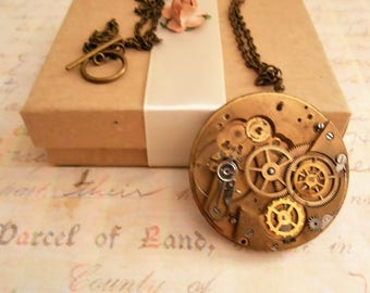 Steampunk Necklace, Brass Vintage Pocketwatch Plate Pendant with Gears, Industrial Recycled Mens Birthday Gift, Womens Steam Punk Jewelry