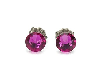 Titanium Studs Earrings Fuchsia swarovski Crystals on Titanium Posts, Hot Pink Earrings for Sensitive Ears, Titanium Jewelry