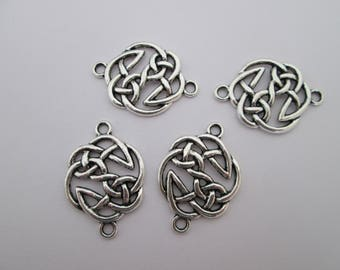 4 connecteur cercle noeud celtique 29 x 20 mm en métal argenté