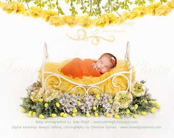 Easter digital backdrop - Iron bed with flowers and eggs - Beautiful Digital background for Newborn Photography - Props download