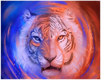 """Face of Fire and Ice 8.5x11"""" Matted Signed Tiger Digital Art METALLIC Print"""