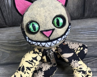 """10"""" Grinning Cat doll moving eye  zipper tummy feed sack baby by Karen Knapp of Tindle Bears"""