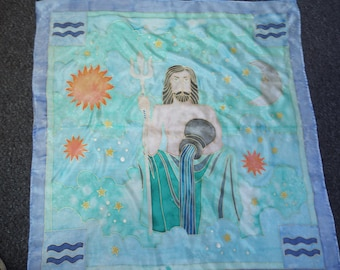 Hand-Painted Aquarius Birthsign Zodiac Astrology Sign Pure Silk Square Scarf Wrap Shawl Wallhanging Altar Cloth Tarot Reading Cloth