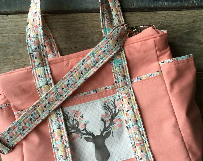 Deer Stag Arrows Diaper Bag with Zipper Top, Stroller Straps and Messenger Crossbody Strap