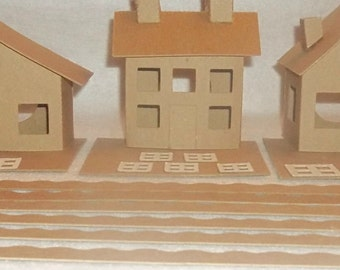 Putz Style Cardboard House-  SET OF 3 HOUSES - Slanted Roof, Colonial, Cottage