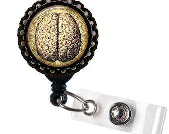 Brains -  Black and Tan Anatomical Black Retractable Badge Reel ID Holder