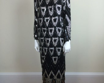 hand beaded deco black silk dress w/ silver sequins, beading, & palettes 80s