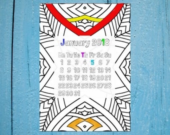 Colourable Calendar, 2018 Calendar, Printable Calendar, Colorable Calendar, Wall Calendar, Monthly Calendar, Color Calendar, Calendar