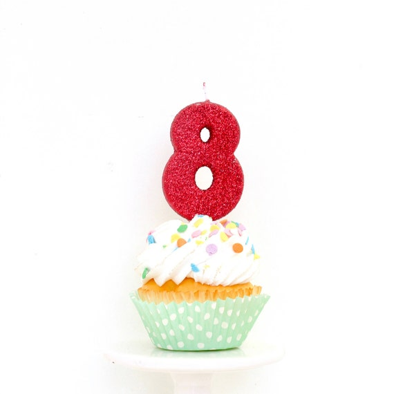 "3"" Number 8 Candle, Giant 8 Candle, Eight Candle, Red Birthday, Red Party, Red Birthday Candle, Glitter Birthday, Red Candle"
