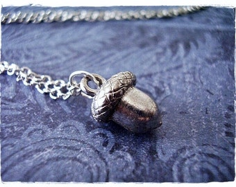 Silver Acorn Necklace - Antique Pewter Acorn Charm on a Delicate Silver Plated Cable Chain or Charm Only