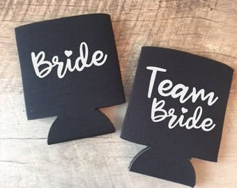 Team Bride Can Coolers - Bachelorette Party Can Cooler - Bachelorette Party Favors -Customized Bride and Bridesmaids Gifts - Team Bride