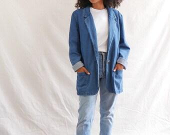 Vintage denim blazer - 90s denim jacket - jean blazer - oversized denim jacket