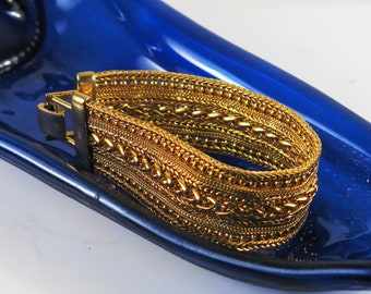 Gold Plated Woven Costume Jewelry Bracelet - Vintage Wide Woven Gold Plated Cuff Bracelet - Costume Jewelry Gold Plated Woven Bracelet Gift