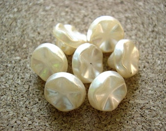 10 Vintage glass buttons perelized ivory shank butttons 10mm