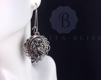 Dark Silver Ornate Oval Druzy Earrings, Faux Druzy Earrings, Bridesmaid Gift Druzy, Dark Silver Druzy Earrings, Oval Drusy