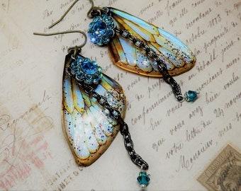 Fairy Wing Earrings, Fairy Earrings, Fairy Tale Earrings, Whimsical Fairy Wings, Fairy Jewelry, Glass Fairy Wings