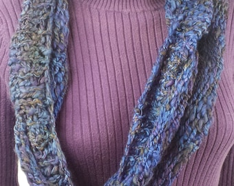 B123 handspun hand-dyed wool rope scarf, continuous (connected) loops, blue