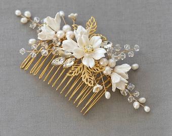 Bridal Comb, Wedding headpiece, Bridal Headpiece, Wedding Comb, Floral Comb, Decorative Comb, Bridal Hair Jewellery | FLEUR Gold